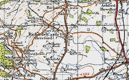 Old map of Richards Castle in 1947