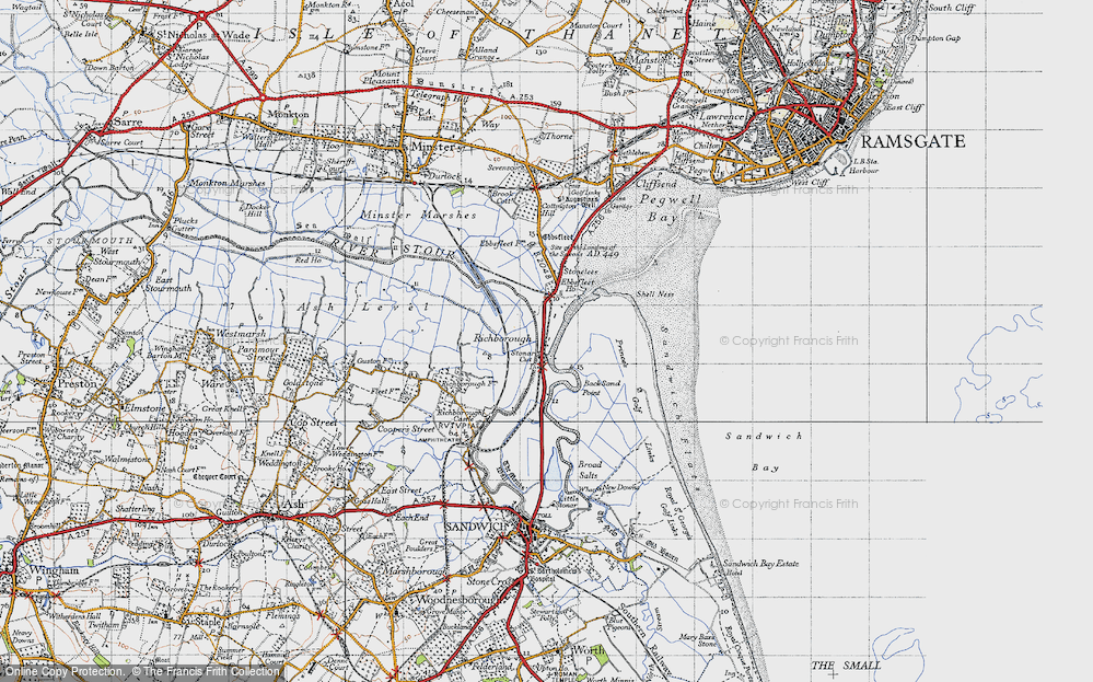 Old Map of Historic Map covering Back Sand Point in 1947
