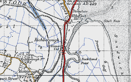 Old map of Back Sand Point in 1947