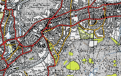 Old map of Richmond in 1945