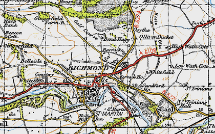 Old map of Aske Hall in 1947