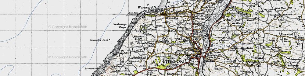 Old map of Abbotsham Court in 1946