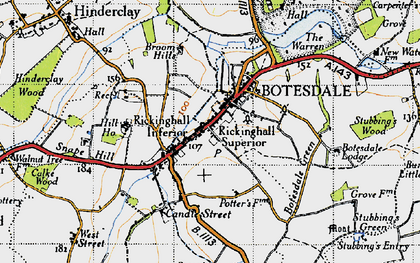 Old map of Rickinghall in 1946