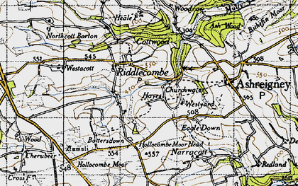 Old map of Westacott Barton in 1946