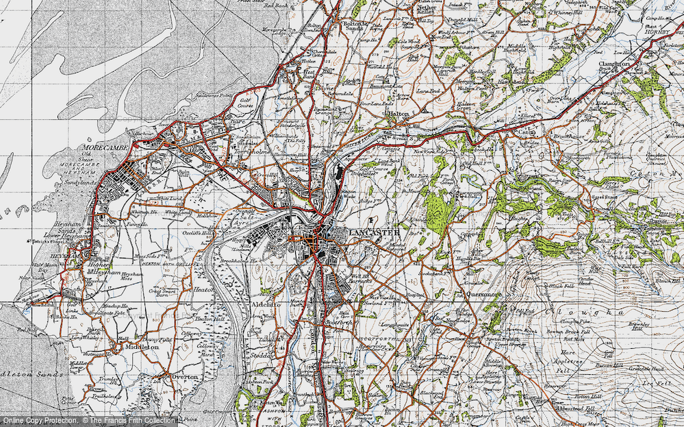 Old Map of Historic Map covering Ashton Meml in 1947