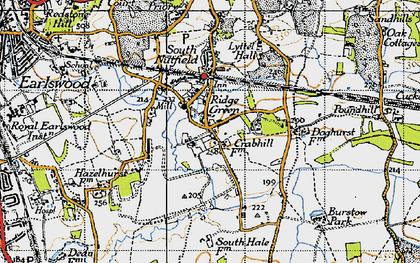 Old map of Ridge Green in 1940