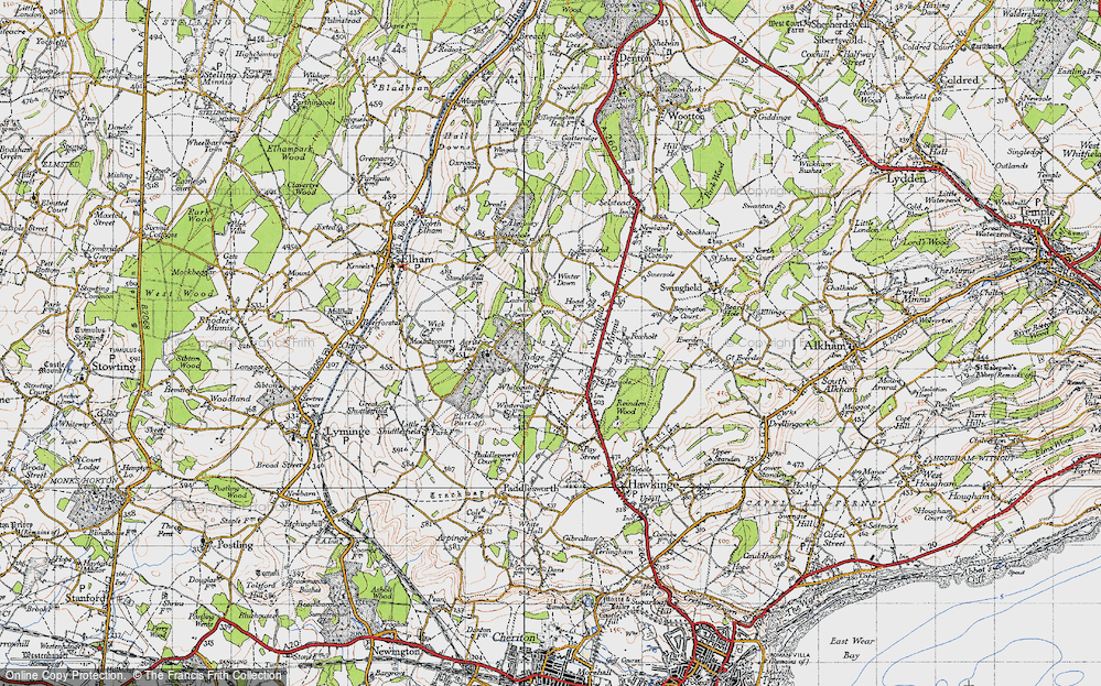 Old Map of Historic Map covering Acrise Place in 1947