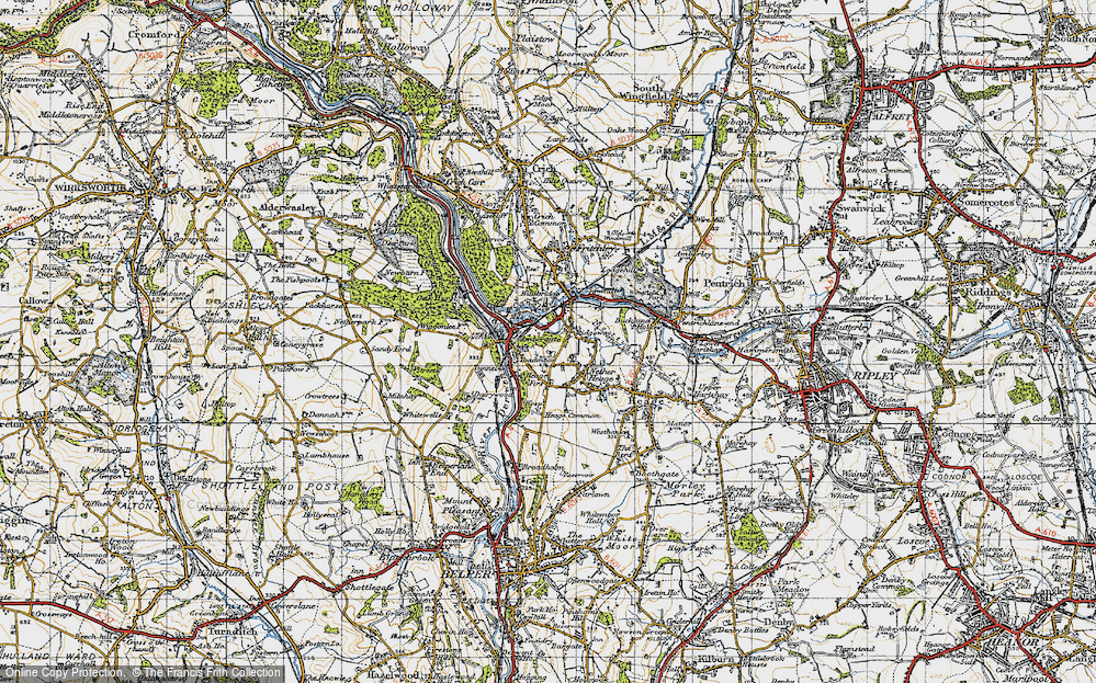 Old Map of Historic Map covering Ambergate in 1946
