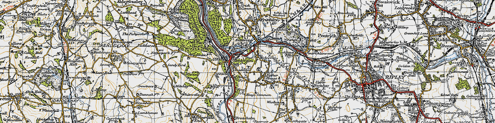 Old map of Ambergate in 1946