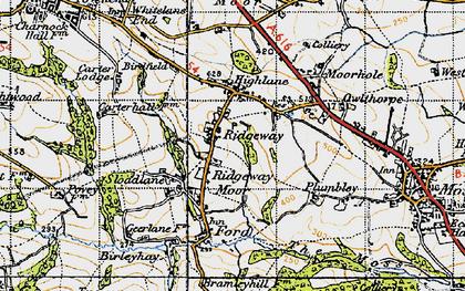 Old map of Ridgeway Moor in 1947