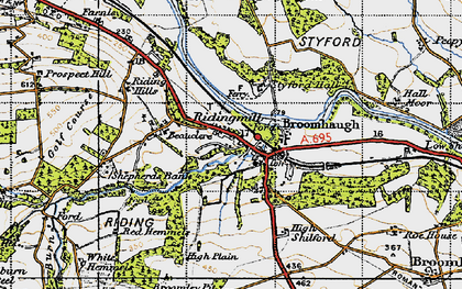 Old map of Riding Mill in 1947