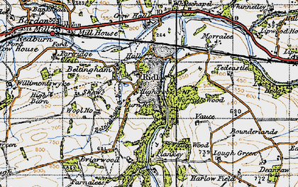 Old map of Allen Banks in 1947