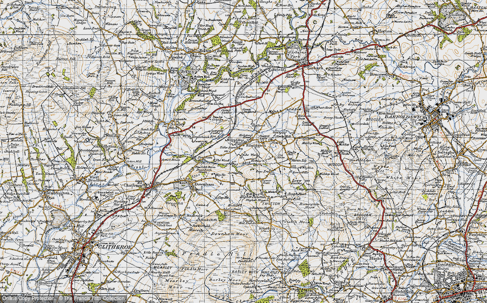 Old Map of Historic Map covering Wood, The in 1947