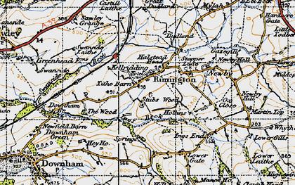 Old map of Rimington in 1947