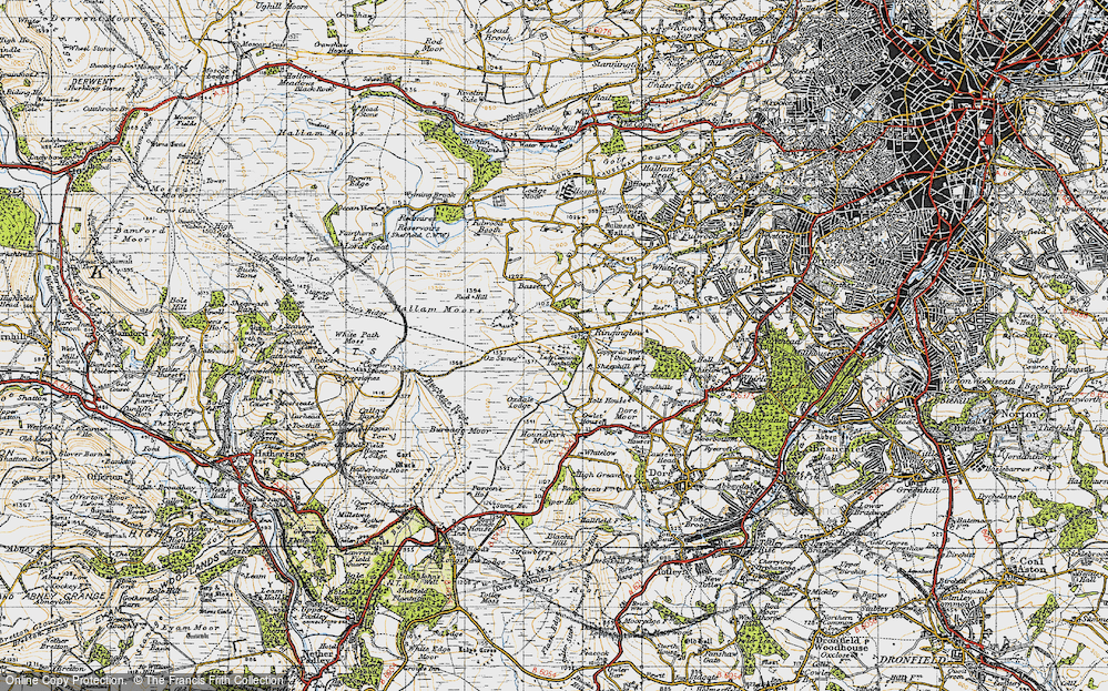 Old Map of Historic Map covering Whitelow in 1947