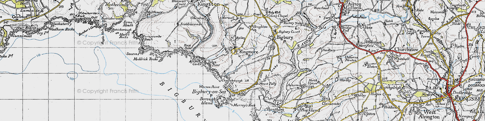 Old map of Toby's Point in 1946