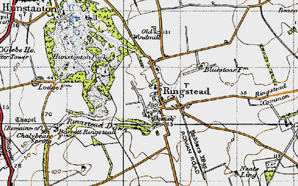 Old map of Ringstead in 1946