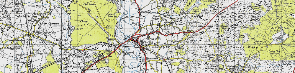 Old map of Ringwood in 1940