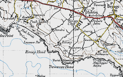 Old map of Rinsey in 1946