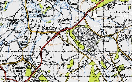 Old map of Ripley in 1940