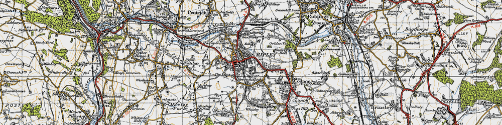 Old map of Ripley in 1946