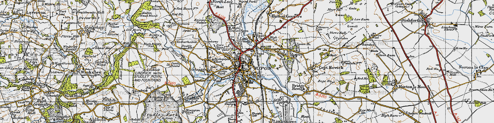 Old map of Ripon in 1947