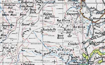 Old map of White Moor Stone in 1946