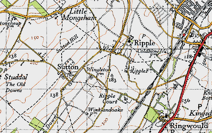 Old map of Ripple in 1947