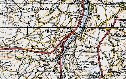 Old map of Ripponden in 1947