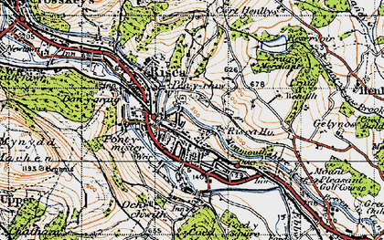 Old map of Risca in 1947