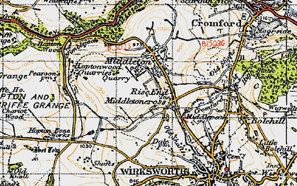 Old map of Rise End in 1947