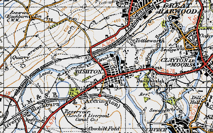 Old map of Rishton in 1947