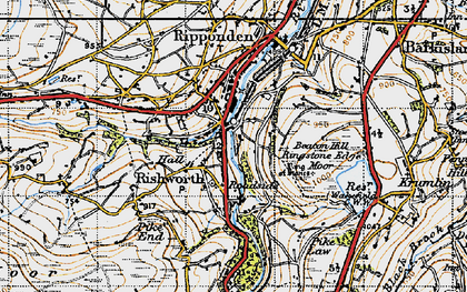 Old map of Rishworth in 1947