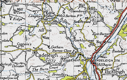 Old map of River Dart in 1946