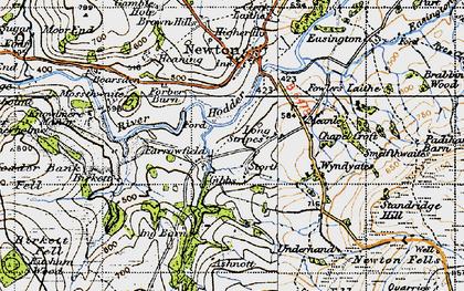 Old map of River Hodder in 1947
