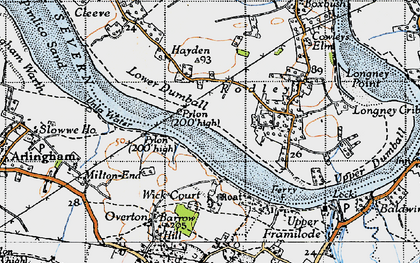 Old map of River Severn in 1946