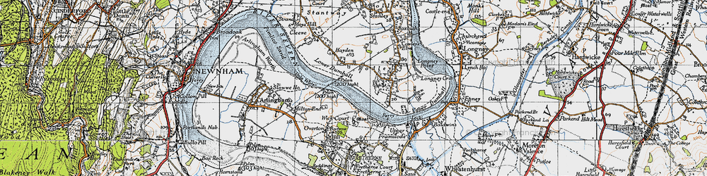 Old map of Wick Court in 1946
