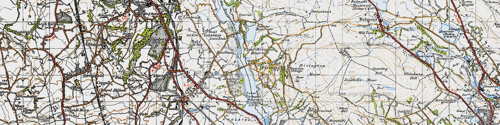 Old map of Lead Mines Clough in 1947