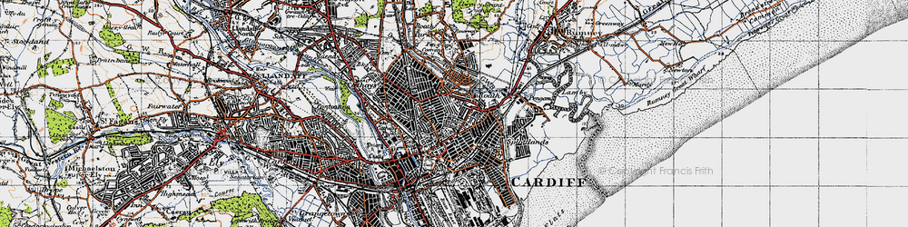 Old map of Roath in 1947
