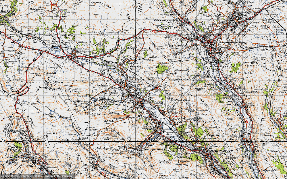 Old Map of Historic Map covering Abernant in 1947