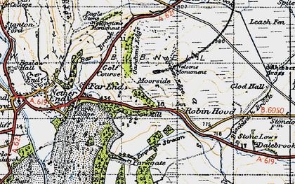 Old map of Robin Hood in 1947