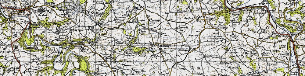 Old map of Whitsley Barton in 1946