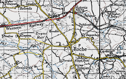 Old map of Roche in 1946