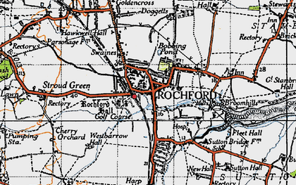 Old map of Rochford in 1945