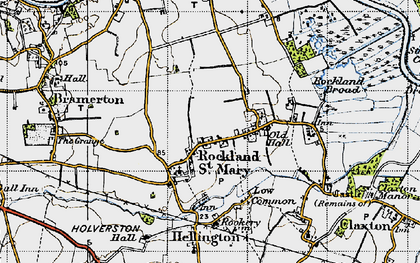 Old map of Rockland St Mary in 1946