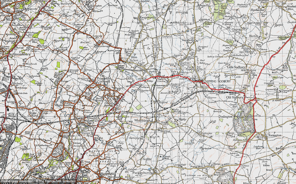 Old Map of Historic Map covering Westerleigh Common in 1946
