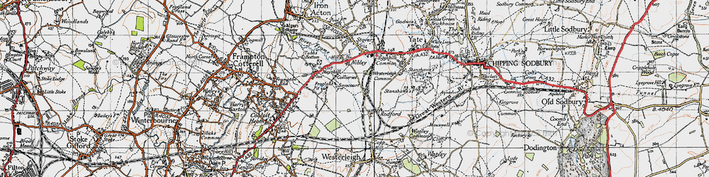 Old map of Westerleigh Common in 1946