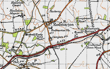 Old map of Windmill Tump (Long Barrow) in 1947