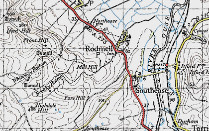 Old map of Rodmell in 1940