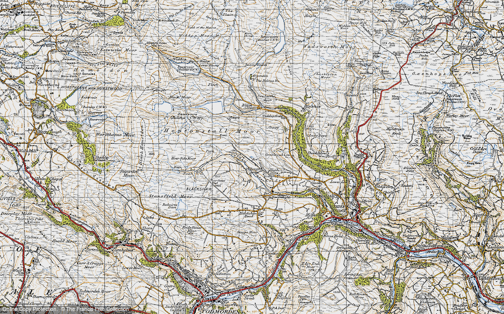 Old Map of Historic Map covering Alcomden Water in 1947